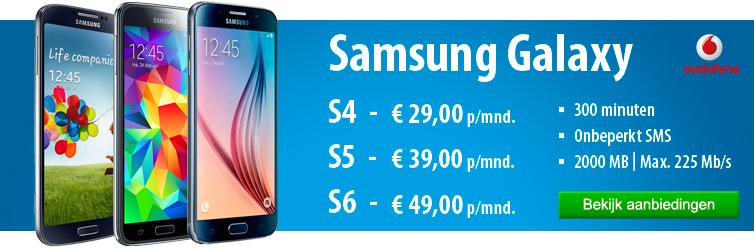 Vodafone actie bij de Samsung Galaxy S4, S5 en S6